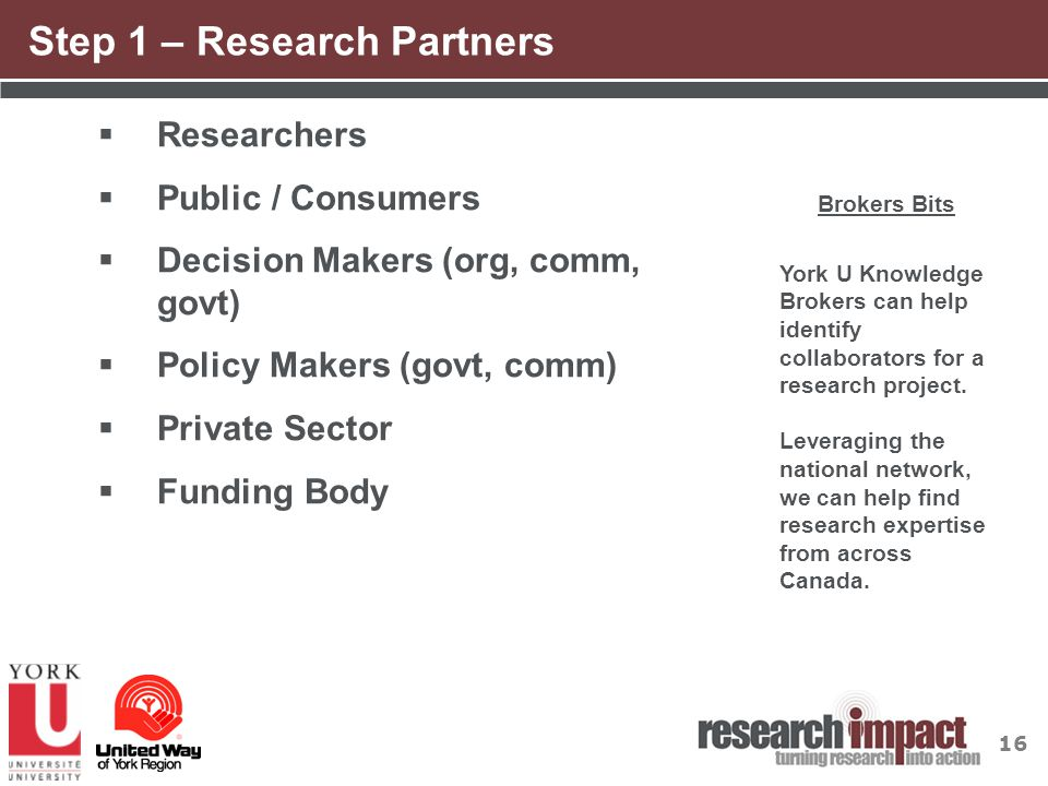 16 Step 1 – Research Partners  Researchers  Public / Consumers  Decision Makers (org, comm, govt)  Policy Makers (govt, comm)  Private Sector  F