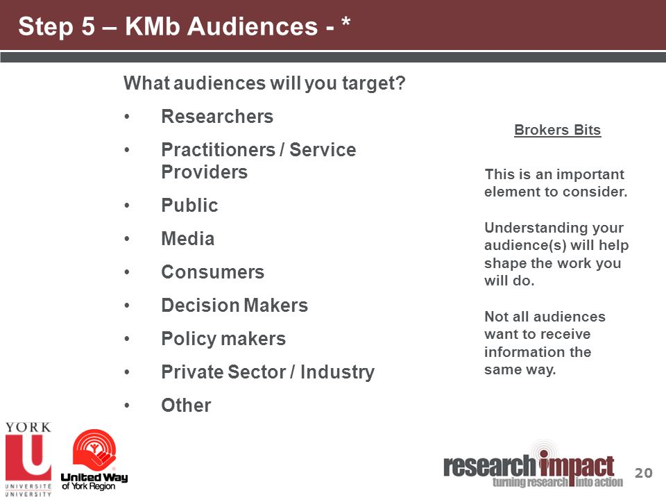 20 Step 5 – KMb Audiences - * What audiences will you target? Researchers Practitioners / Service Providers Public Media Consumers Decision Makers Pol