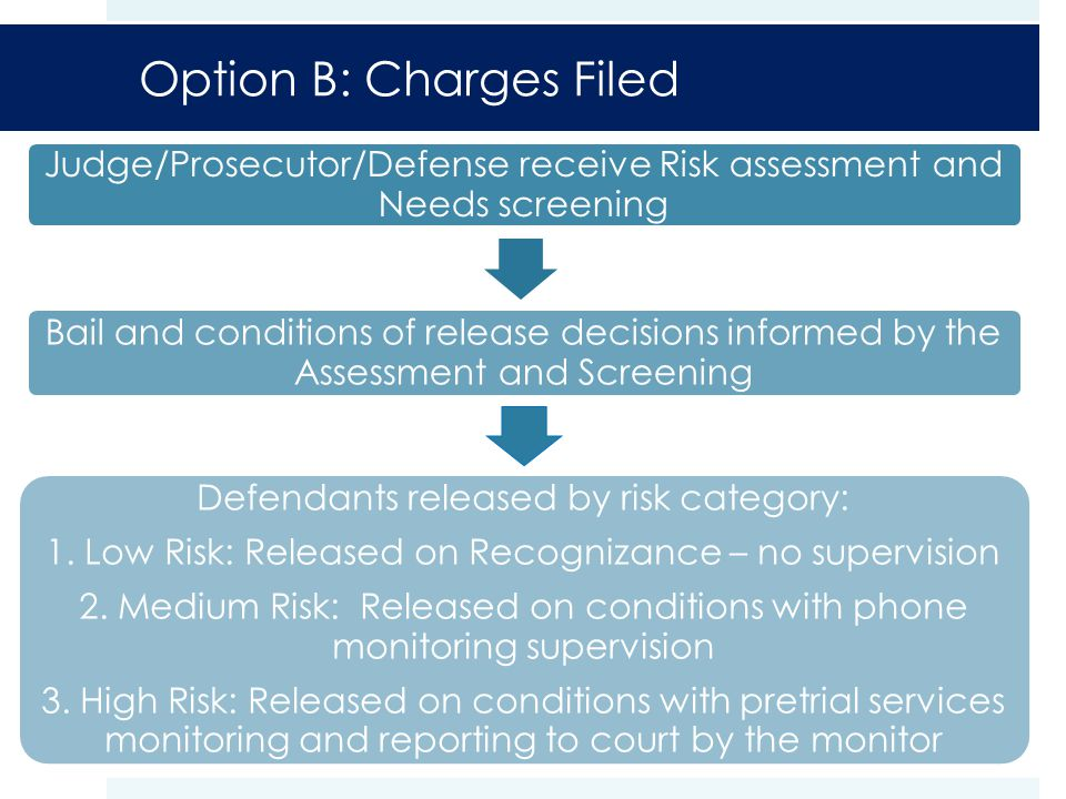 Option B: Charges Filed Judge/Prosecutor/Defense receive Risk assessment and Needs screening Bail and conditions of release decisions informed by the Assessment and Screening Defendants released by risk category: 1.