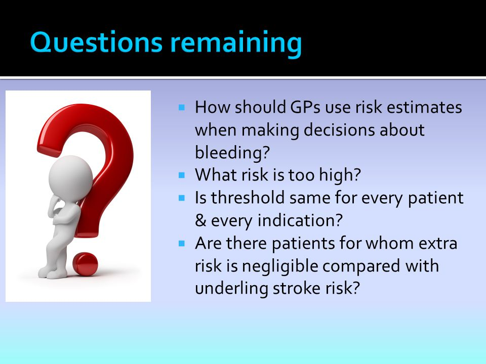  How should GPs use risk estimates when making decisions about bleeding.
