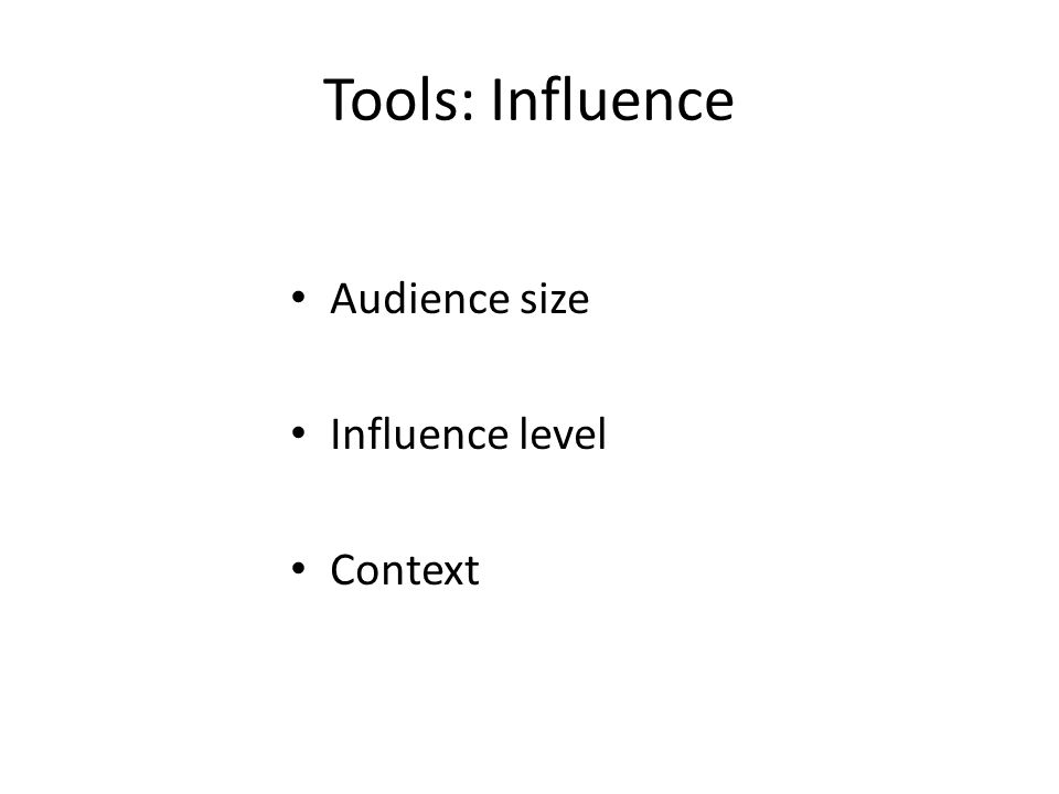 Tools: Influence Audience size Influence level Context