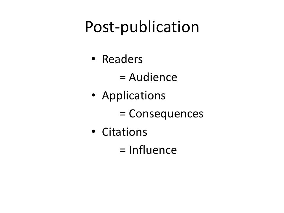 Post-publication Readers = Audience Applications = Consequences Citations = Influence