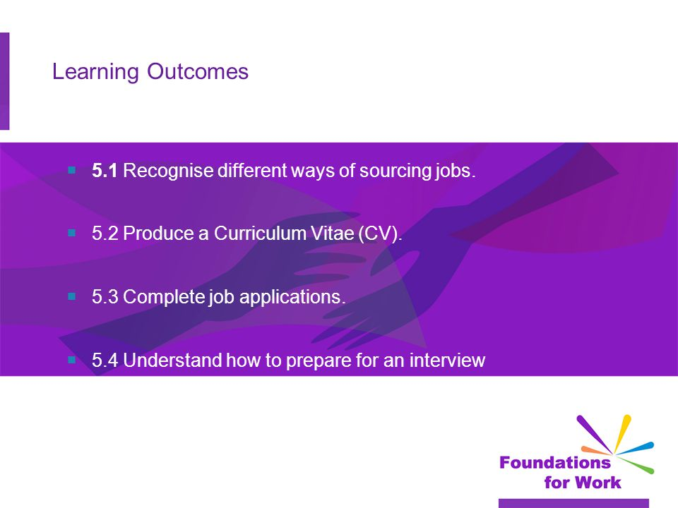 Learning Outcomes  5.1 Recognise different ways of sourcing jobs.