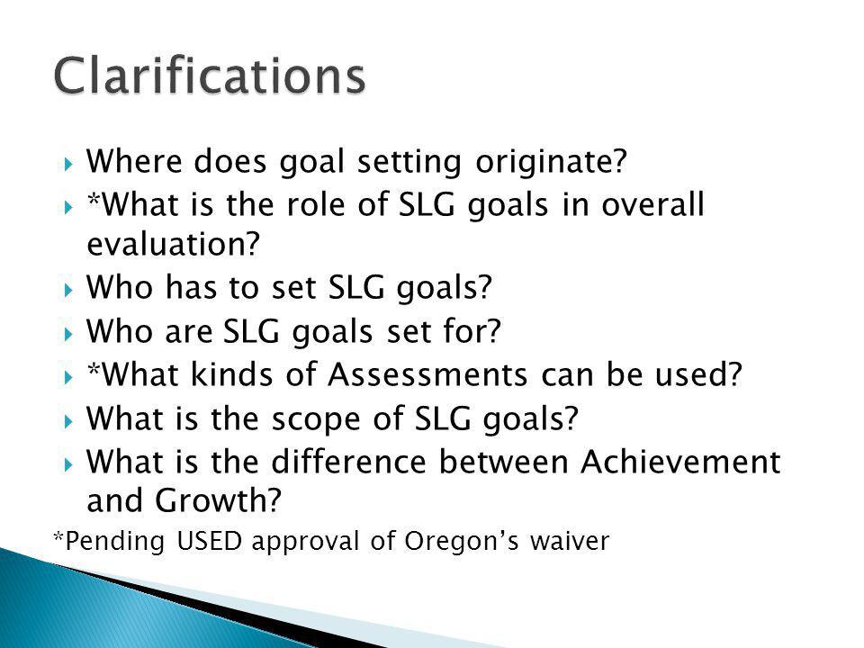  Where does goal setting originate.  *What is the role of SLG goals in overall evaluation.