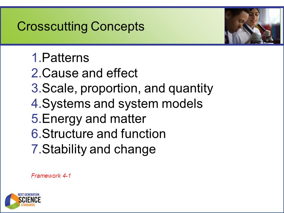 Crosscutting Concepts 1.Patterns 2.Cause and effect 3.Scale, proportion, and quantity 4.Systems and system models 5.Energy and matter 6.Structure and function 7.Stability and change Framework 4-1