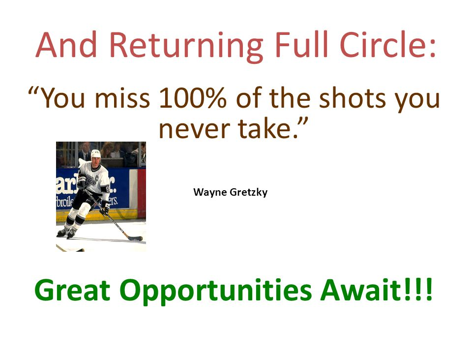 And Returning Full Circle: You miss 100% of the shots you never take. Great Opportunities Await!!.