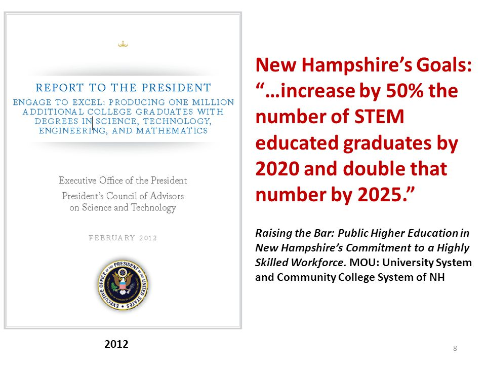 8 2012 New Hampshire's Goals: …increase by 50% the number of STEM educated graduates by 2020 and double that number by 2025. Raising the Bar: Public Higher Education in New Hampshire's Commitment to a Highly Skilled Workforce.