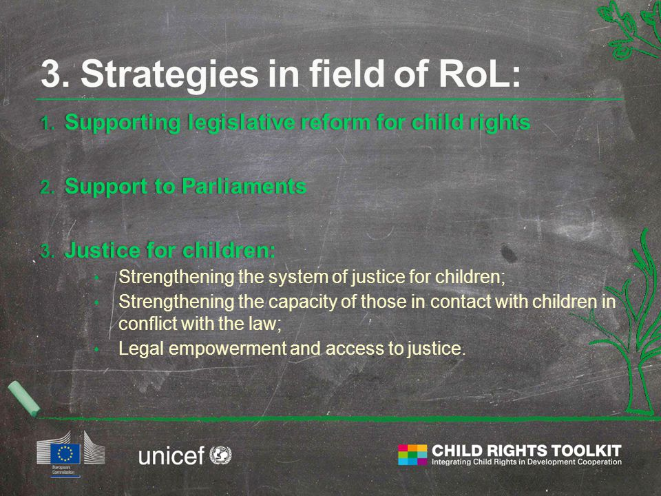 1. Supporting legislative reform for child rights 2. Support to Parliaments 3. Justice for children: Strengthening the system of justice for children;