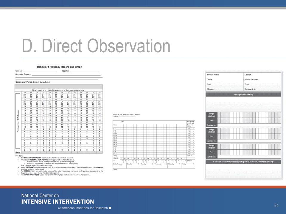 D. Direct Observation 24
