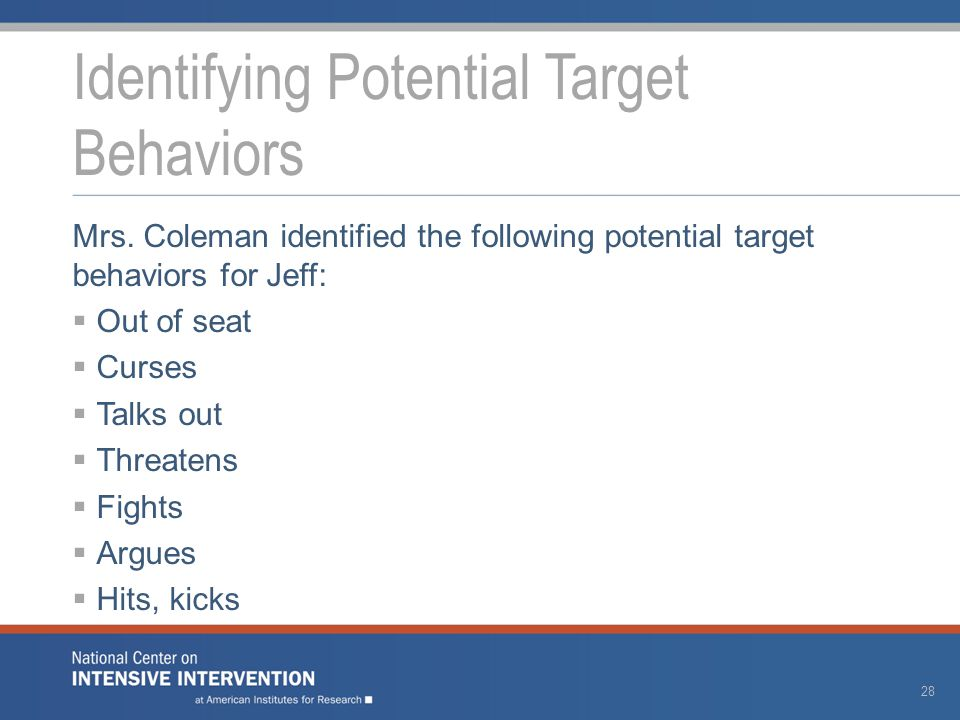 Mrs. Coleman identified the following potential target behaviors for Jeff:  Out of seat  Curses  Talks out  Threatens  Fights  Argues  Hits, ki