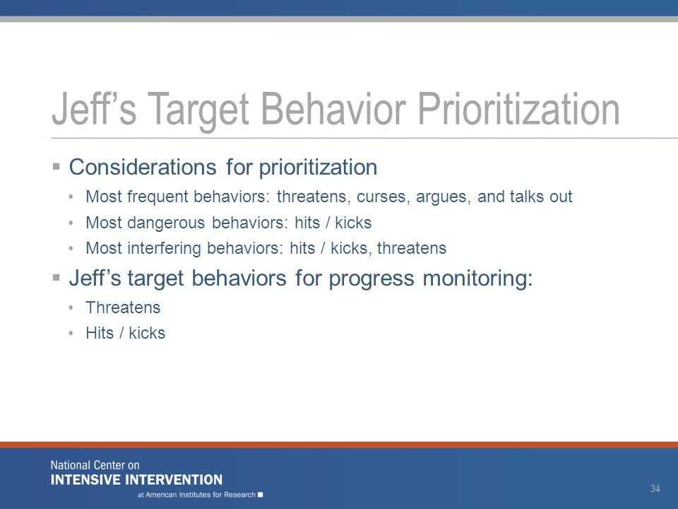  Considerations for prioritization Most frequent behaviors: threatens, curses, argues, and talks out Most dangerous behaviors: hits / kicks Most interfering behaviors: hits / kicks, threatens  Jeff's target behaviors for progress monitoring: Threatens Hits / kicks Jeff's Target Behavior Prioritization 34