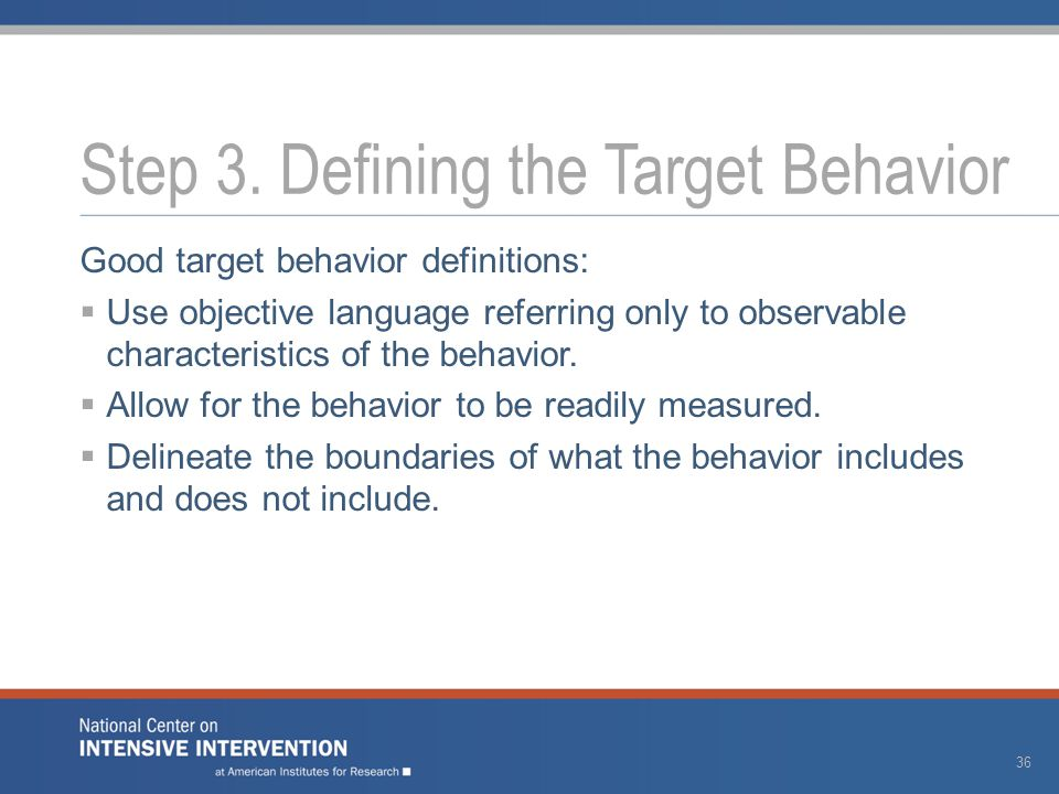 Good target behavior definitions:  Use objective language referring only to observable characteristics of the behavior.