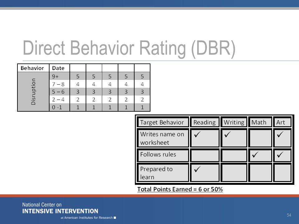 Direct Behavior Rating (DBR) 54