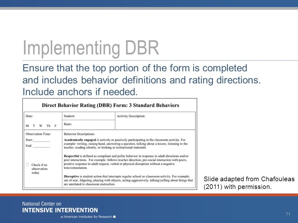 Implementing DBR Ensure that the top portion of the form is completed and includes behavior definitions and rating directions.