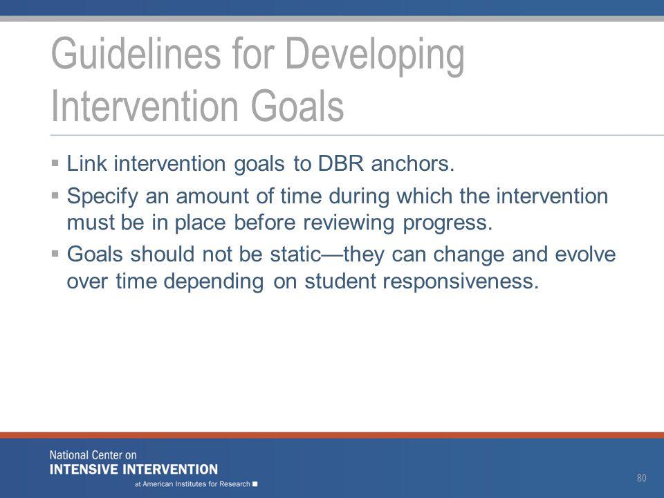  Link intervention goals to DBR anchors.