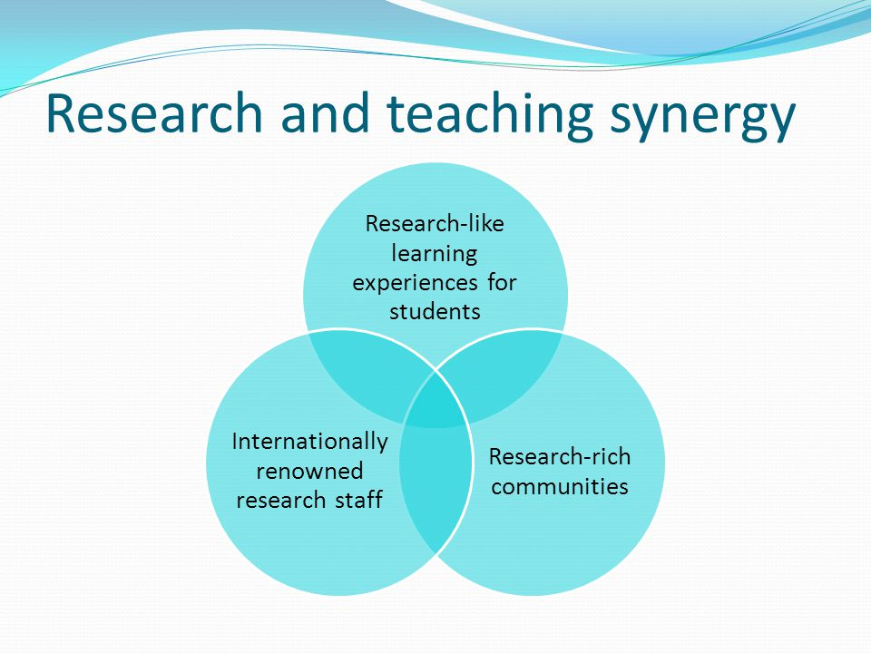 Research and teaching synergy Research-like learning experiences for students Research-rich communities Internationally renowned research staff