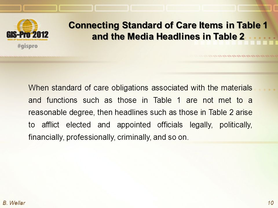 Connecting Standard of Care Items in Table 1 and the Media Headlines in Table 2 When standard of care obligations associated with the materials and functions such as those in Table 1 are not met to a reasonable degree, then headlines such as those in Table 2 arise to afflict elected and appointed officials legally, politically, financially, professionally, criminally, and so on.