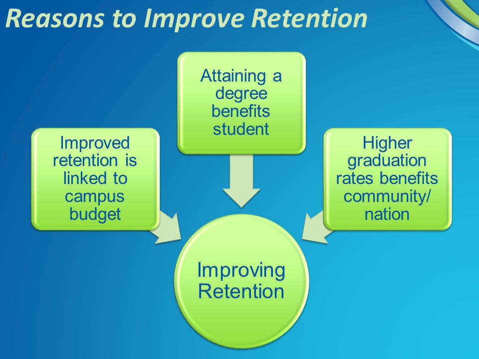 Reasons to Improve Retention Improving Retention Improved retention is linked to campus budget Attaining a degree benefits student Higher graduation r