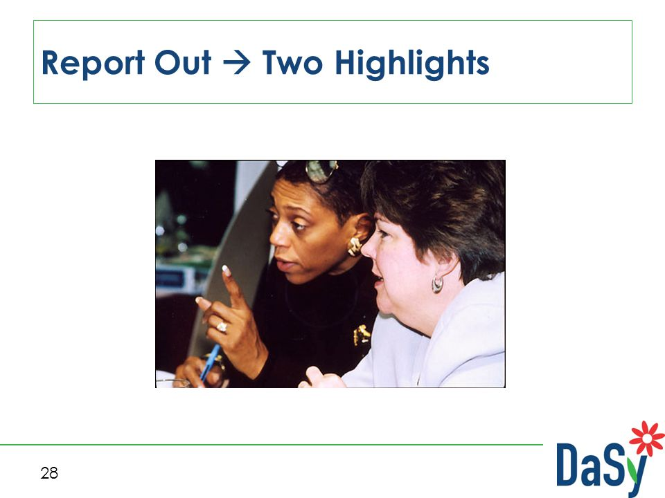 28 Report Out  Two Highlights