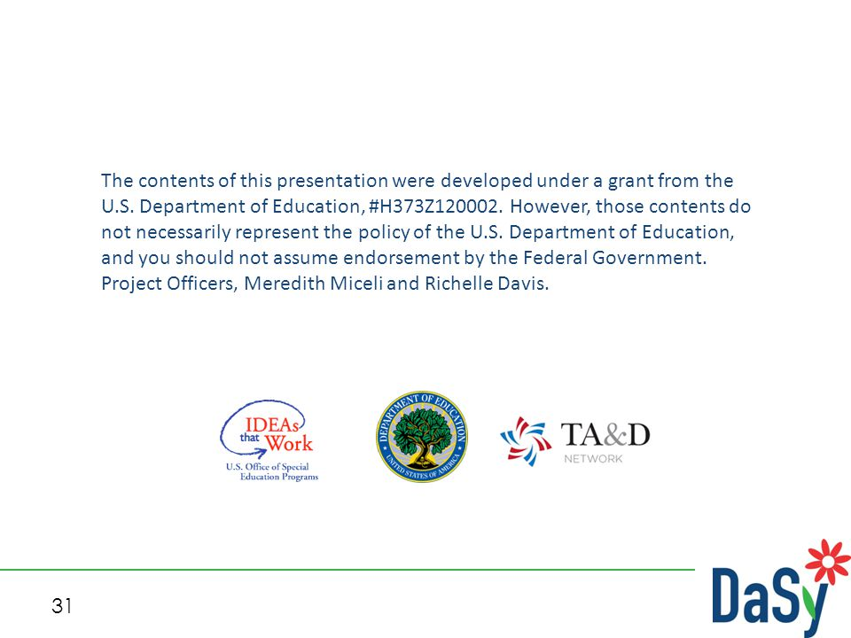 31 The contents of this presentation were developed under a grant from the U.S. Department of Education, #H373Z120002. However, those contents do not
