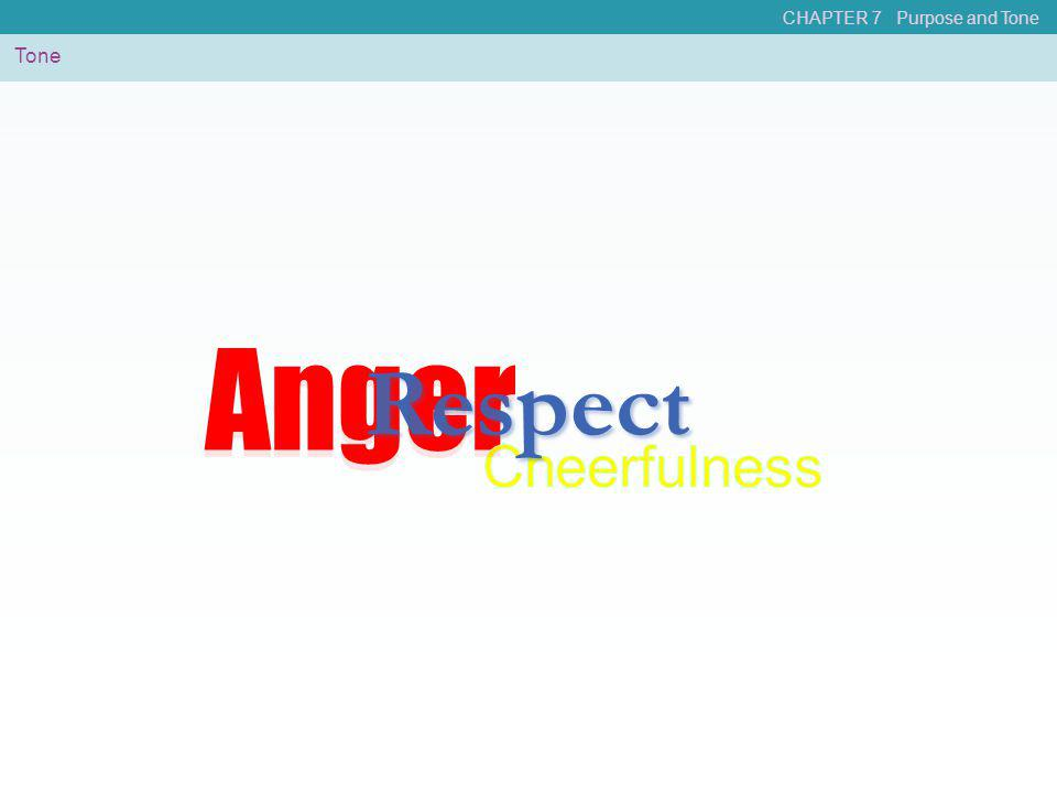 CHAPTER 7 Purpose and Tone Tone Anger Respect Anger