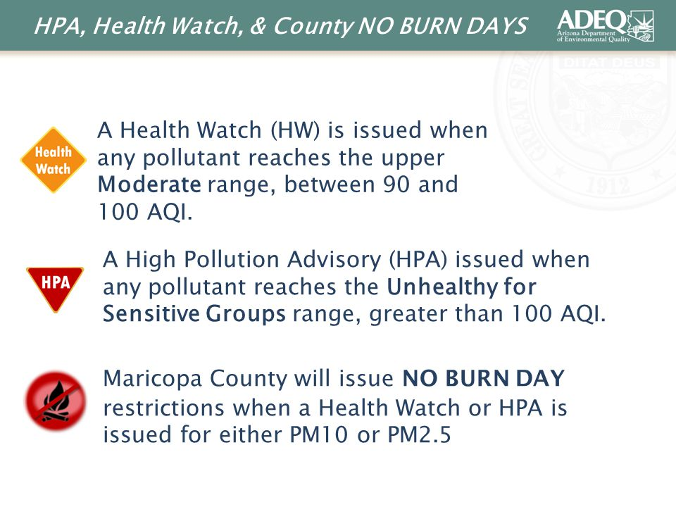 HPA, Health Watch, & County NO BURN DAYS A Health Watch (HW) is issued when any pollutant reaches the upper Moderate range, between 90 and 100 AQI.