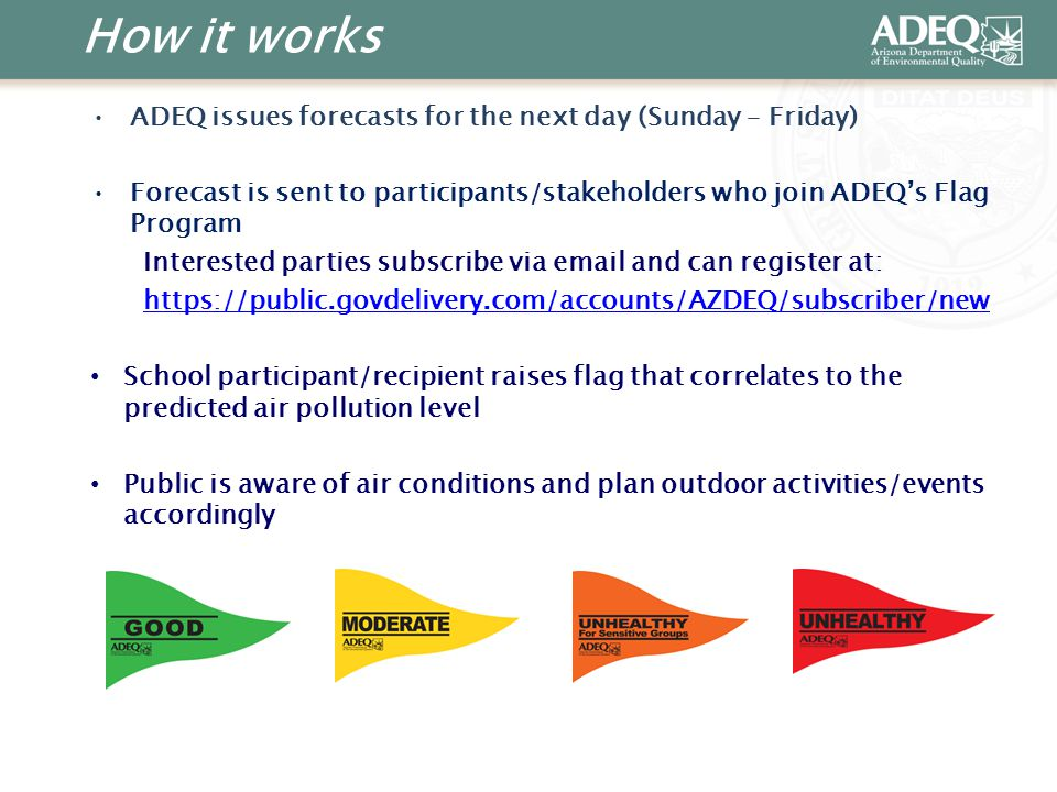 How it works ADEQ issues forecasts for the next day (Sunday – Friday) Forecast is sent to participants/stakeholders who join ADEQ's Flag Program Interested parties subscribe via email and can register at: https://public.govdelivery.com/accounts/AZDEQ/subscriber/new School participant/recipient raises flag that correlates to the predicted air pollution level Public is aware of air conditions and plan outdoor activities/events accordingly