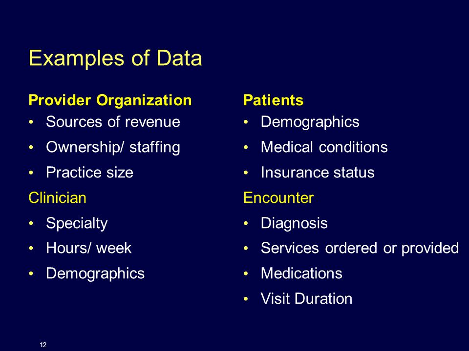 Examples of Data Provider Organization Sources of revenue Ownership/ staffing Practice size Clinician Specialty Hours/ week Demographics Patients Demographics Medical conditions Insurance status Encounter Diagnosis Services ordered or provided Medications Visit Duration 12