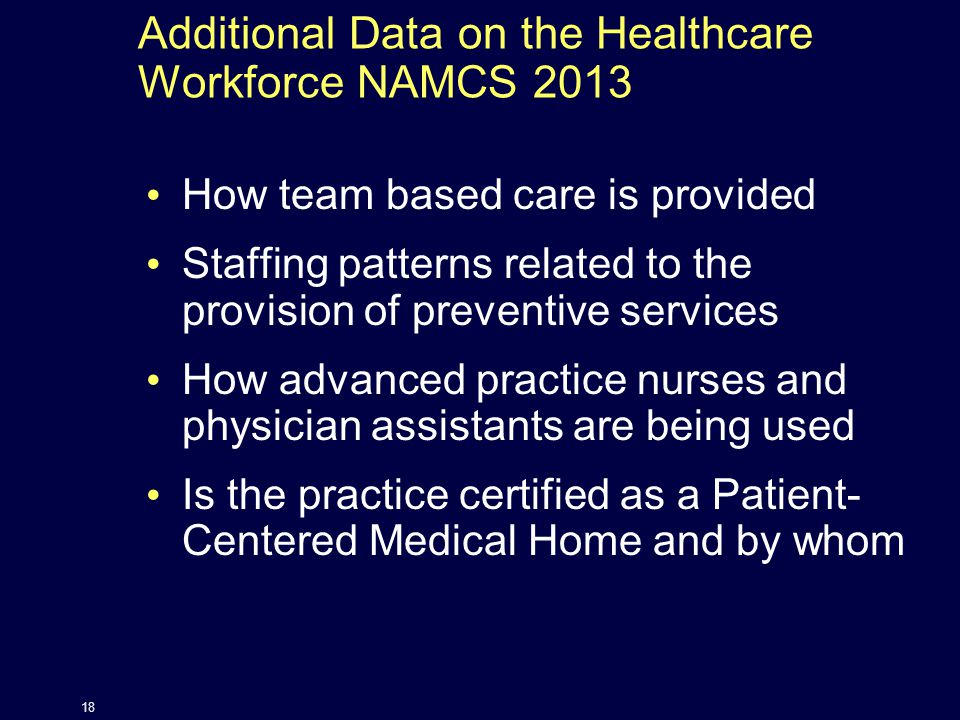 Additional Data on the Healthcare Workforce NAMCS 2013 How team based care is provided Staffing patterns related to the provision of preventive services How advanced practice nurses and physician assistants are being used Is the practice certified as a Patient- Centered Medical Home and by whom 18