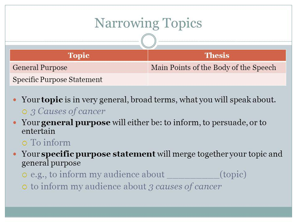 Narrowing Topics TopicThesis General PurposeMain Points of the Body of the Speech Specific Purpose Statement Your topic is in very general, broad terms, what you will speak about.