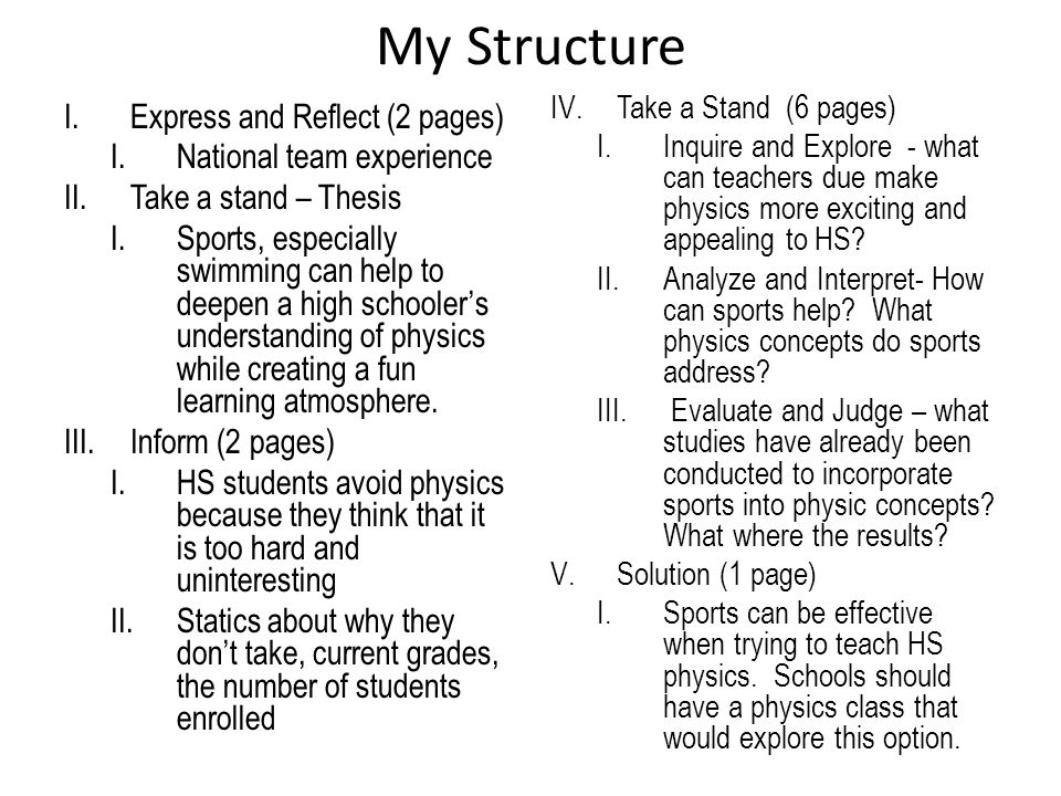 My Structure I.Express and Reflect (2 pages) I.National team experience II.Take a stand – Thesis I.Sports, especially swimming can help to deepen a high schooler's understanding of physics while creating a fun learning atmosphere.