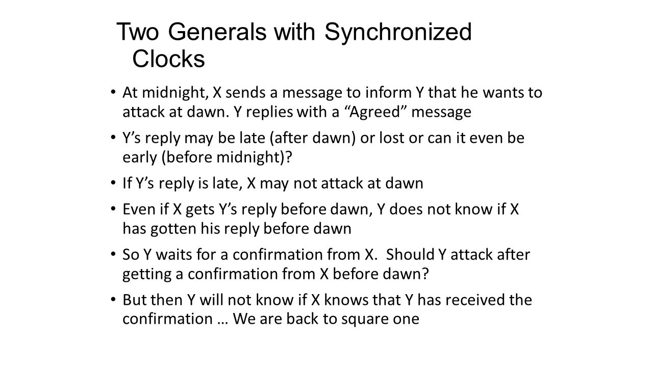 "Two Generals with Synchronized Clocks At midnight, X sends a message to inform Y that he wants to attack at dawn. Y replies with a ""Agreed"" message Y'"