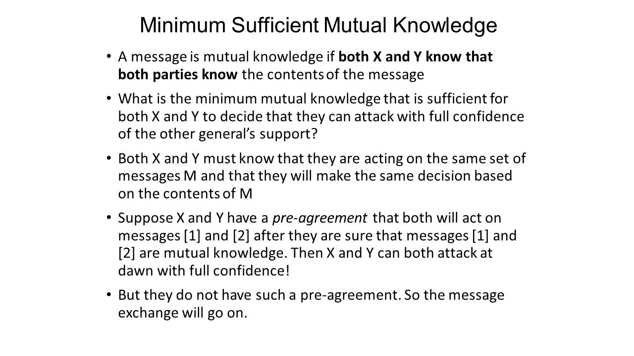 Minimum Sufficient Mutual Knowledge A message is mutual knowledge if both X and Y know that both parties know the contents of the message What is the