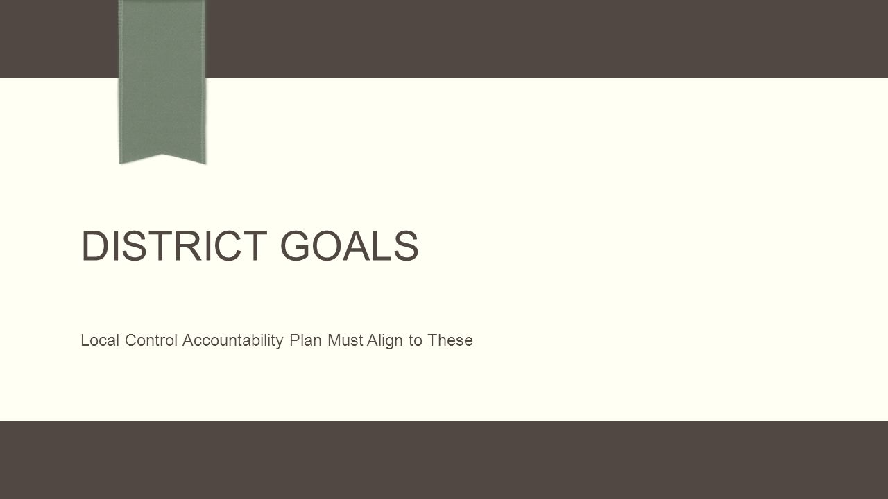 DISTRICT GOALS Local Control Accountability Plan Must Align to These