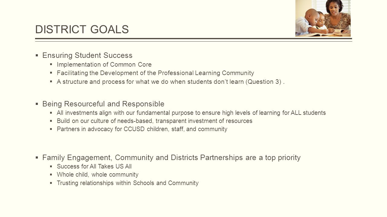 DISTRICT GOALS  Ensuring Student Success  Implementation of Common Core  Facilitating the Development of the Professional Learning Community  A structure and process for what we do when students don't learn (Question 3).