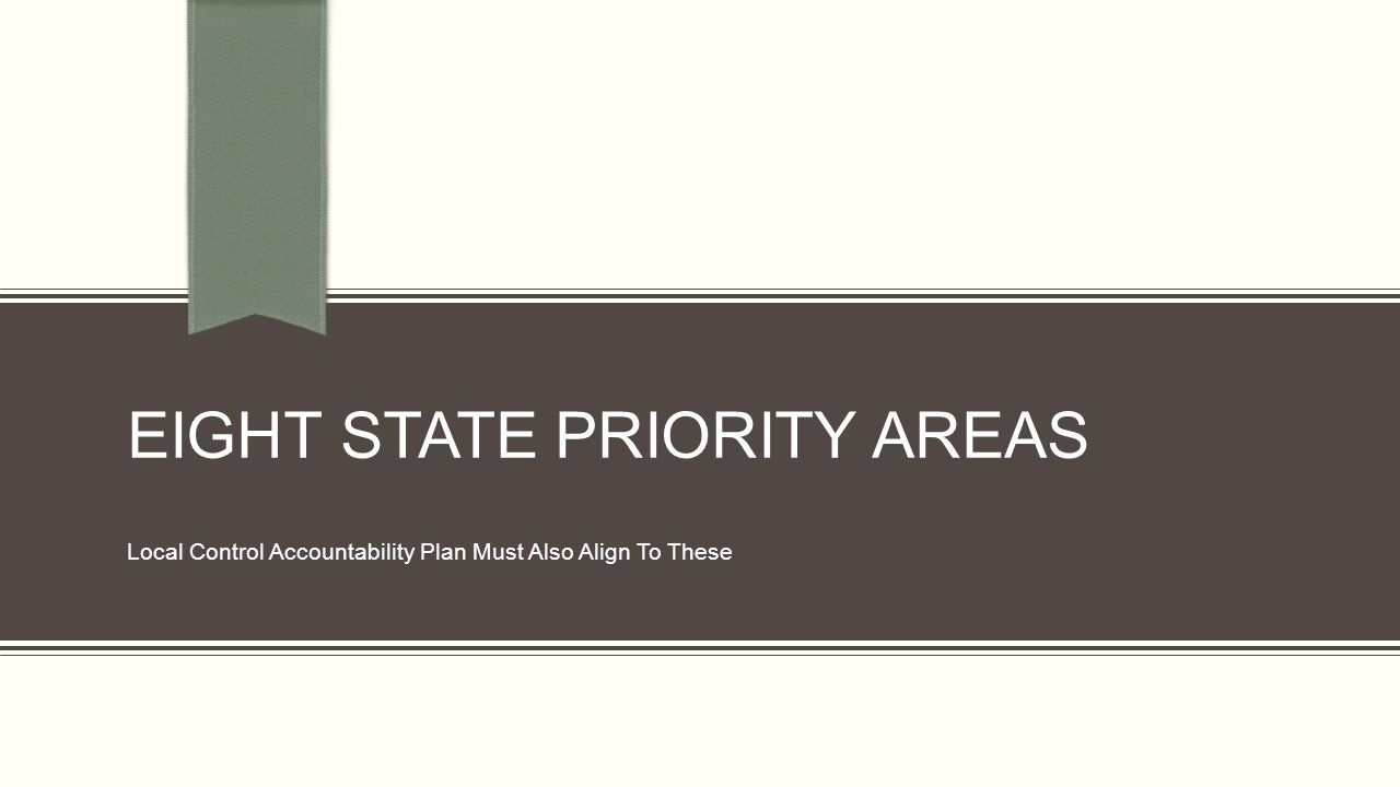 EIGHT STATE PRIORITY AREAS Local Control Accountability Plan Must Also Align To These
