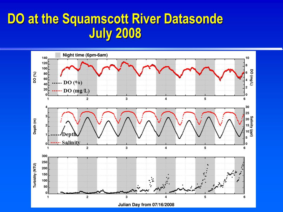 DO at the Squamscott River Datasonde July 2008 DO (%) DO (mg/L) Depth Salinity