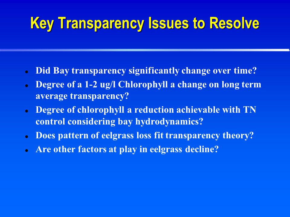 Key Transparency Issues to Resolve Did Bay transparency significantly change over time.