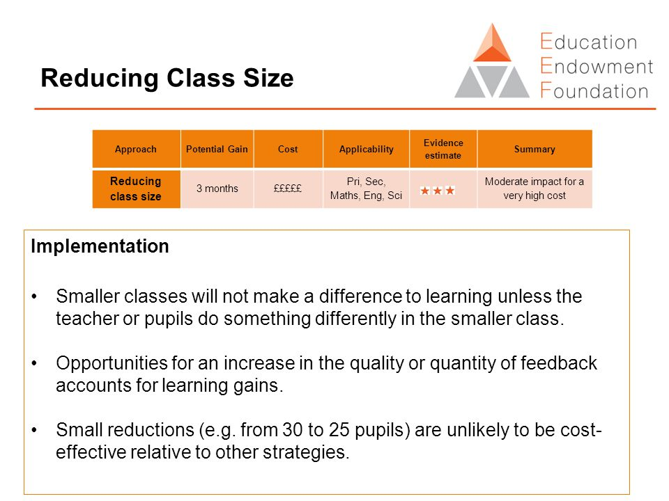 Reducing Class Size Implementation Smaller classes will not make a difference to learning unless the teacher or pupils do something differently in the smaller class.