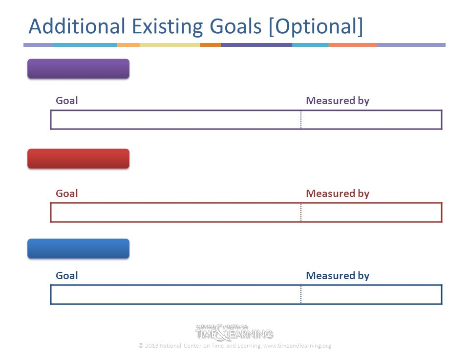 © 2013 National Center on Time and Learning; www.timeandlearning.org Additional Existing Goals [Optional] GoalMeasured by GoalMeasured by GoalMeasured by