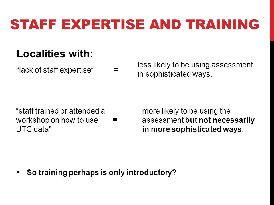 """STAFF EXPERTISE AND TRAINING Localities with: less likely to be using assessment in sophisticated ways.  So training perhaps is only introductory? """"s"""
