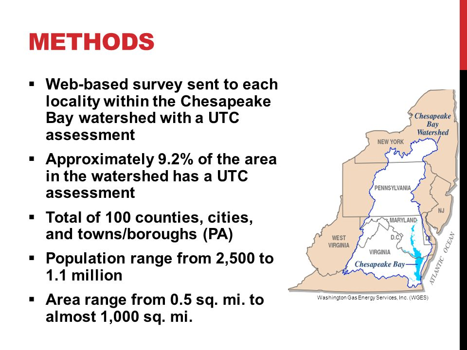  55% response rate from localities  Representing :  80% of total area with UTC assessment