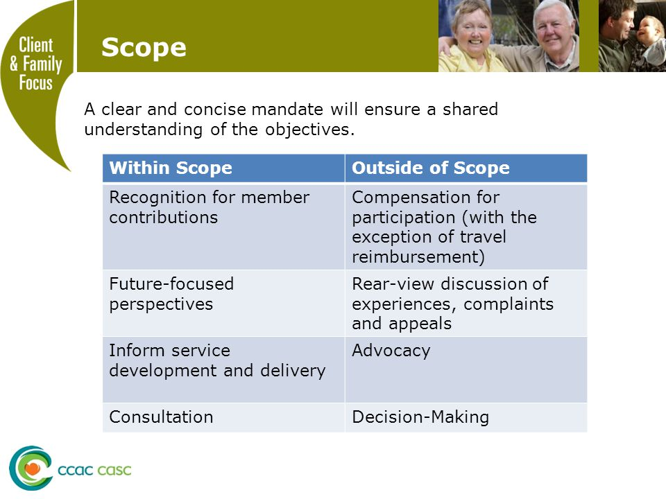 Scope A clear and concise mandate will ensure a shared understanding of the objectives.
