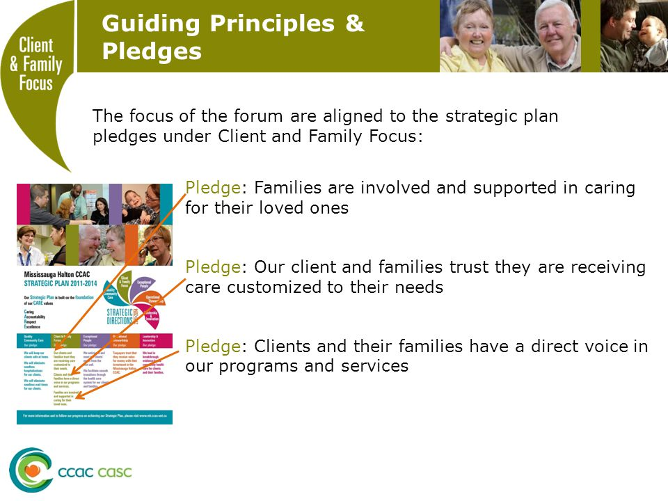 Guiding Principles & Pledges Pledge: Families are involved and supported in caring for their loved ones Pledge: Our client and families trust they are receiving care customized to their needs Pledge: Clients and their families have a direct voice in our programs and services The focus of the forum are aligned to the strategic plan pledges under Client and Family Focus:
