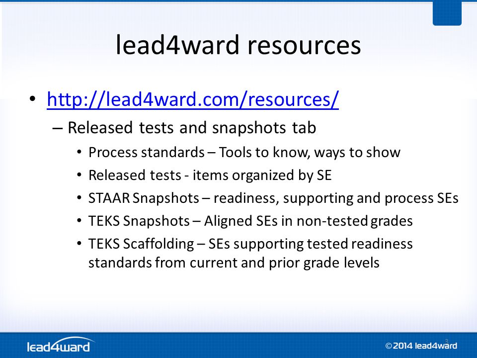 lead4ward resources http://lead4ward.com/resources/ – Released tests and snapshots tab Process standards – Tools to know, ways to show Released tests