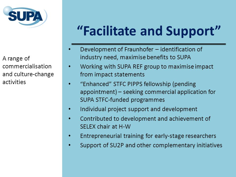 Facilitate and Support Development of Fraunhofer – identification of industry need, maximise benefits to SUPA Working with SUPA REF group to maximise impact from impact statements Enhanced STFC PIPPS fellowship (pending appointment) – seeking commercial application for SUPA STFC-funded programmes Individual project support and development Contributed to development and achievement of SELEX chair at H-W Entrepreneurial training for early-stage researchers Support of SU2P and other complementary initiatives A range of commercialisation and culture-change activities