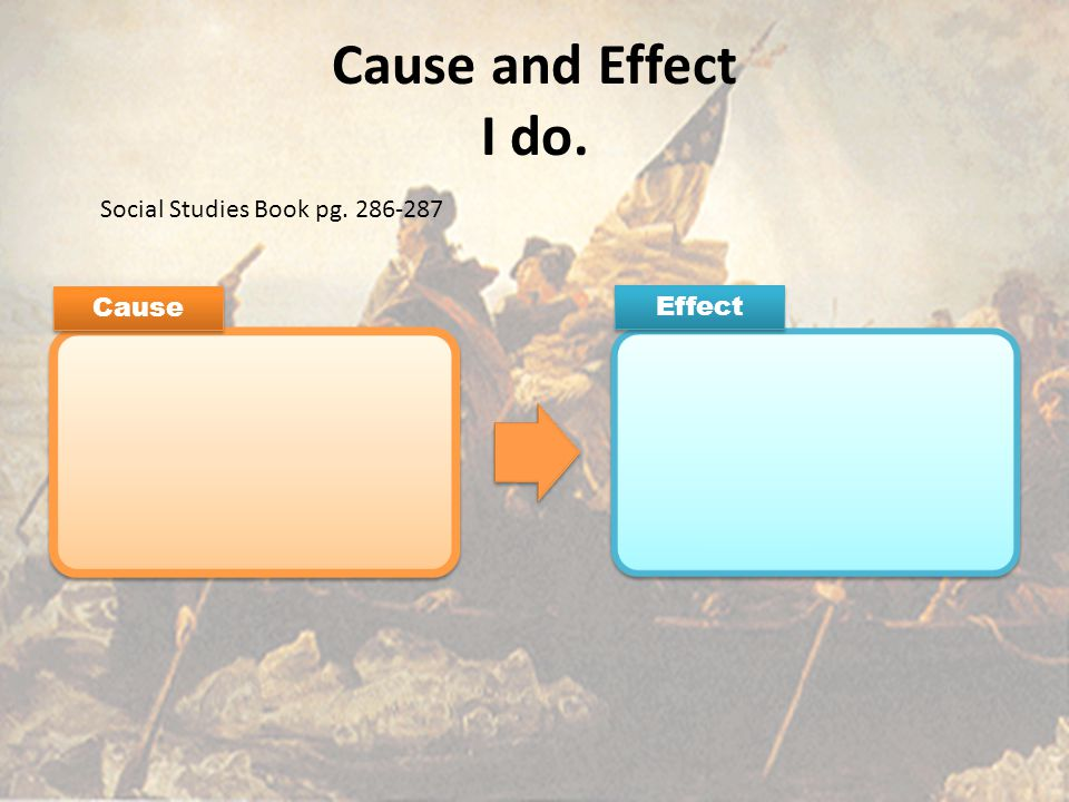 Cause and Effect I do. Cause Effect Social Studies Book pg. 286-287