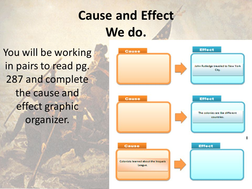 Cause and Effect We do. You will be working in pairs to read pg.