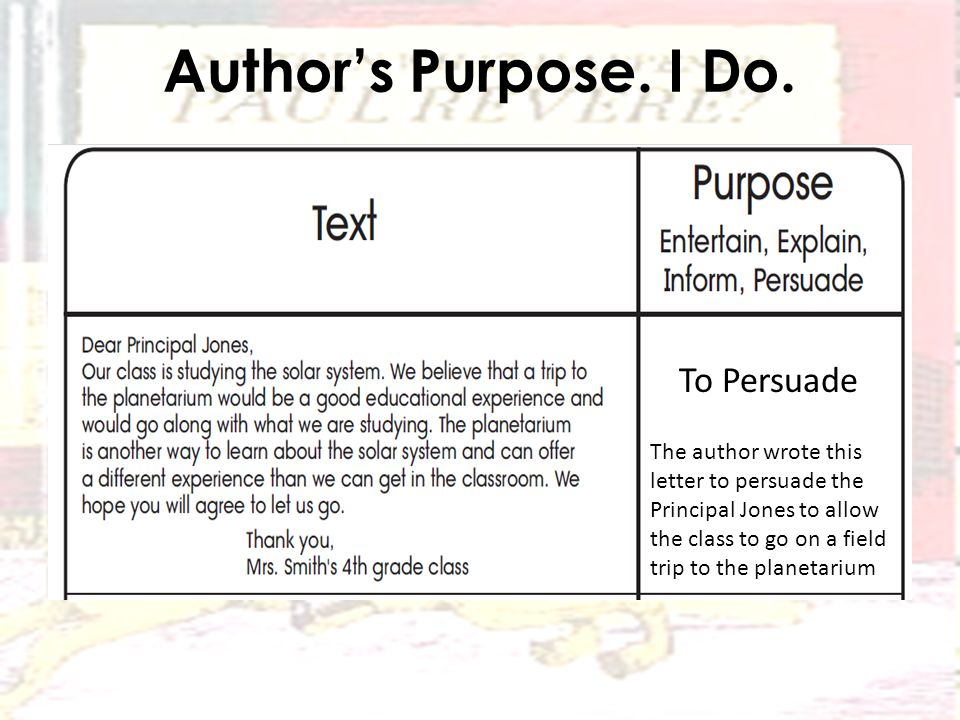 Author's Purpose. I Do.