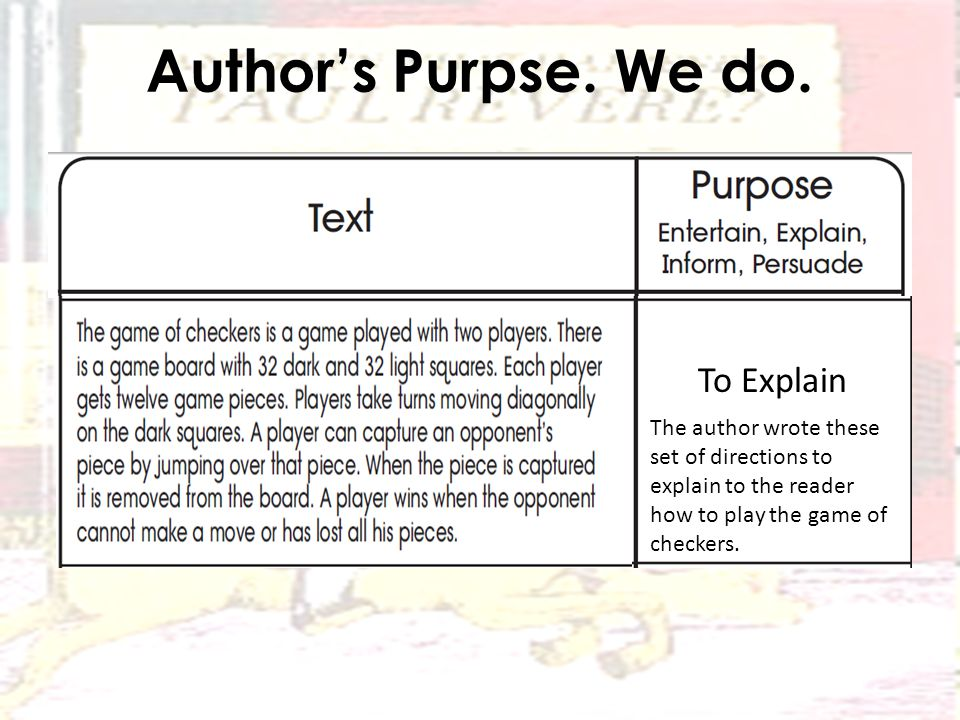 Author's Purpse. We do.